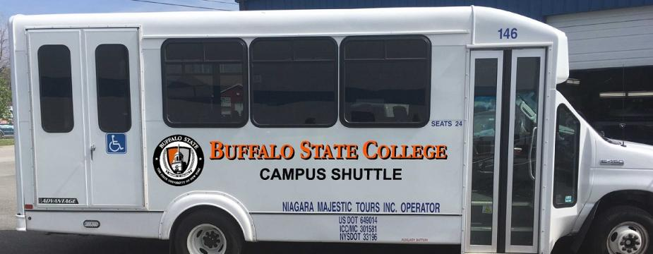 A side view of a new shuttle bus with Buffalo State College branding.
