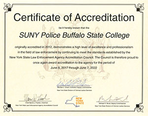 SUNY Buffalo State Police Certificate of Accreditation